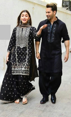 Best Quality Black Colour Georgett With Embroidery Work Salwar Suit