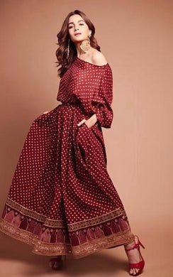 Alia Bhatt Pretty Maroon Colour Cotton With Enbroidery Work Salwar Suit