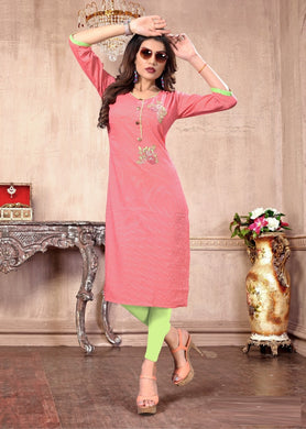 Awesome Pink Colour Cotton Kurti