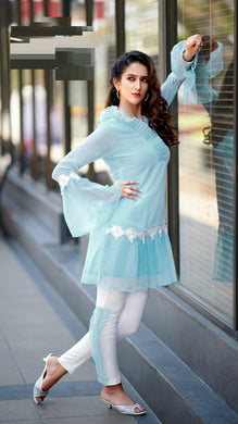 New Collection Skyblue Colour Pure Heavy Georgette Kurti