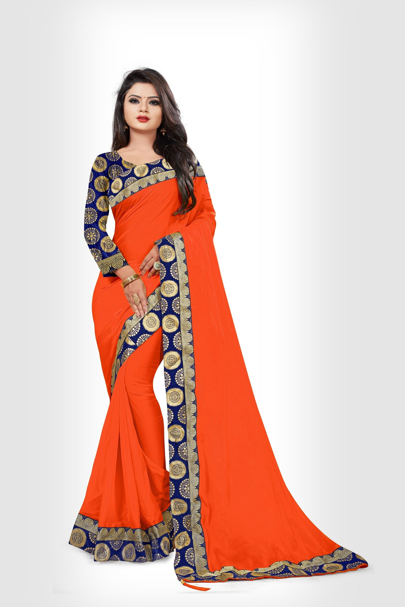 4f9a6ad82a99a Latest Designer Orange Color Rangoli Silk Saree With Brocade Blouse ...