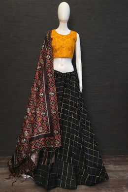 Exclusive Designer Cotton Chex Lehenga Choli In Black Color
