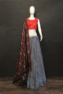 Exclusive Designer Cotton Chex Lehenga Choli In Grey Color
