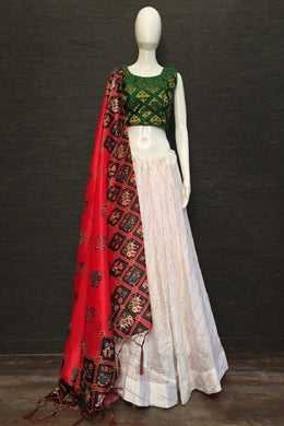 Exclusive Designer Cotton Chex Lehenga Choli In White Color