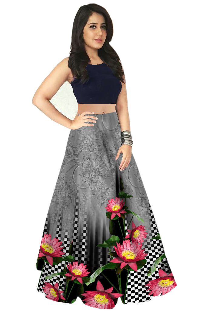 Exclusive Flower Printed Lehenga Choli With Golden Dupatta