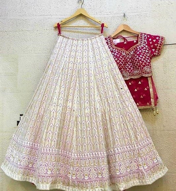Awesome Designer Light Pink Georgette With Sequence Work Lehenga Choli