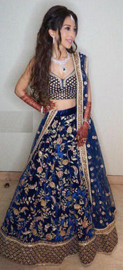 Exclusive Designer Velvet Embroderied Lehenga Choli In Royal Blue Color