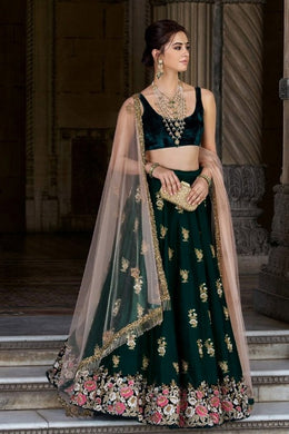 Exclusive Designer 9000 Velvet Embroderied Lehenga Choli In Green Color