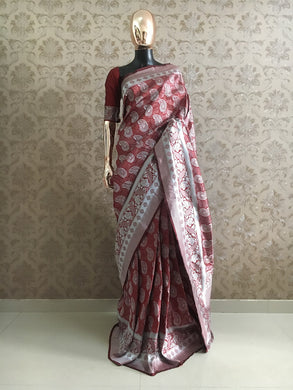 Awesome Designer Weaving Soft Silk Saree In Maroon Color