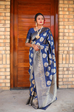 Awesome Designer Woven Silk Saree In Navy Blue Color