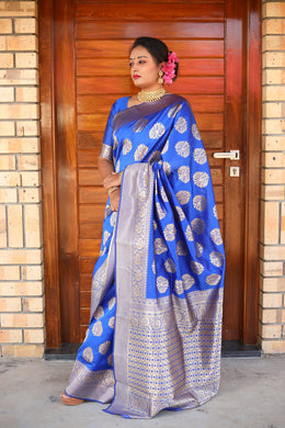 Awesome Designer Woven Silk Saree In Royal Blue Color