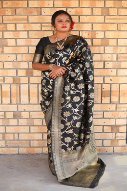 Awesome Designer Woven Silk Saree In Black Color