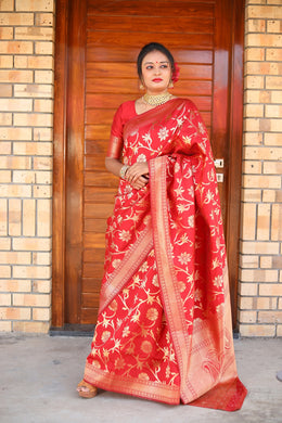 Awesome Designer Woven Silk Saree In Red Color