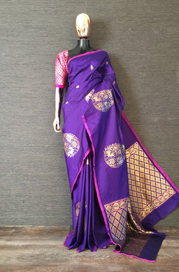 Awesome Designer Woven Silk Saree In Blue Color