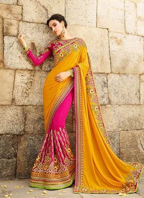 New Designer Georgette Saree In Yellow And Magenta Color With Embroidery Work