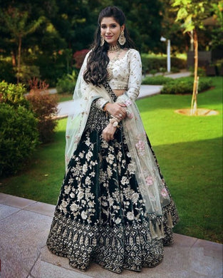 Dark Green Color Designer Velvet  Embroidered Lehenga Choli