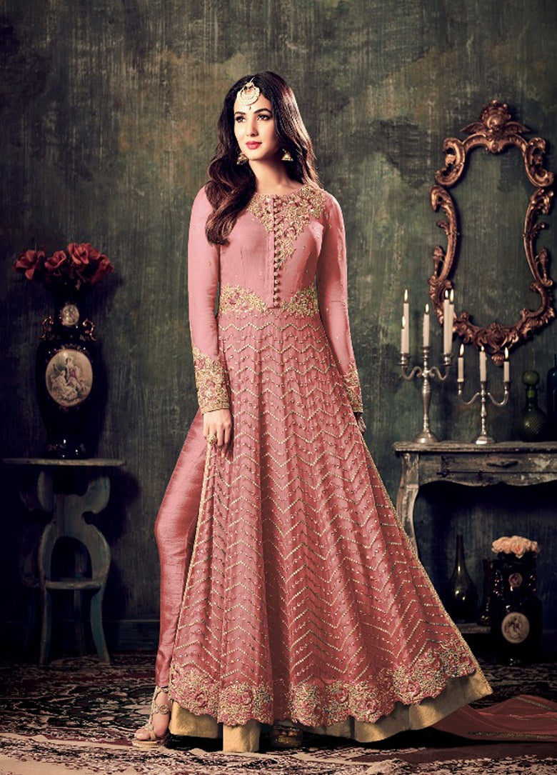 e51d4f27ee Sonal Chauhan Embroidered Net Abaya Style Suit In Pink – SAREEU™