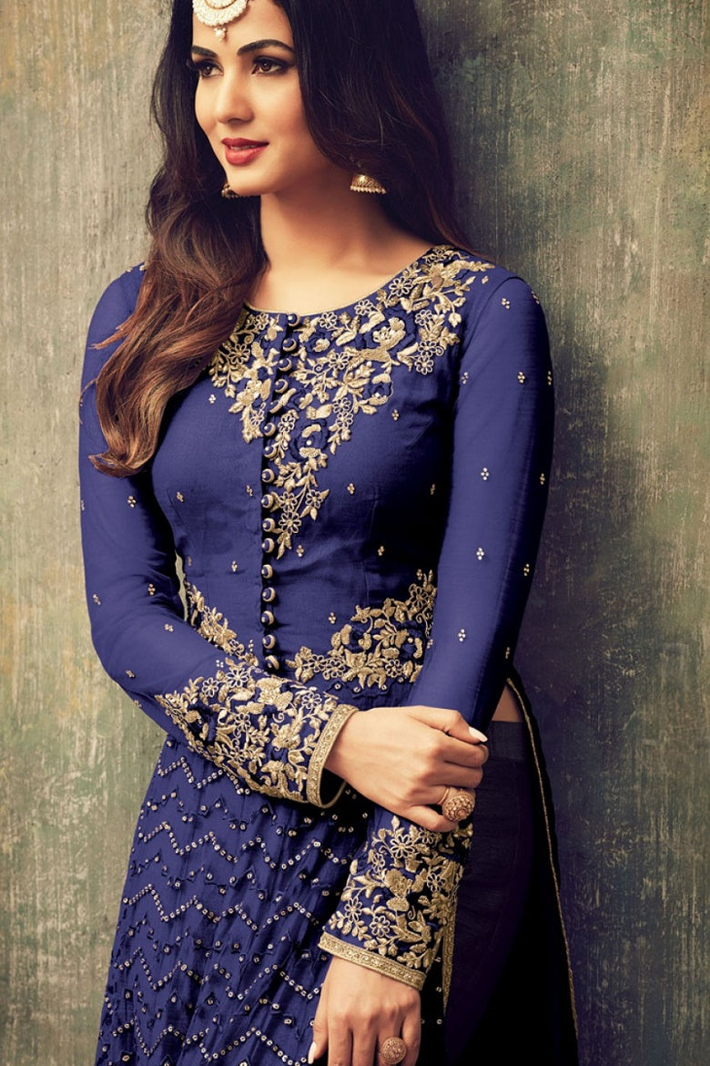 c53abb3c95 Sonal Chauhan Embroidered Net Abaya Style Suit In Blue – SAREEU™