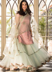 Designer Taffeta Silk Embroidery Work Designer Suit In Multi Color