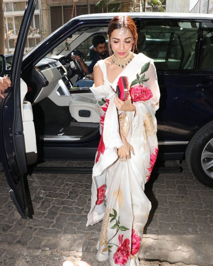 Malaika Arora Chanderi Silk Digital Printed Saree In Multi Color