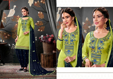 Desire Parrot & Navy Blue Satin Cotton Embroidered Work With Long Straight Salwar Suit
