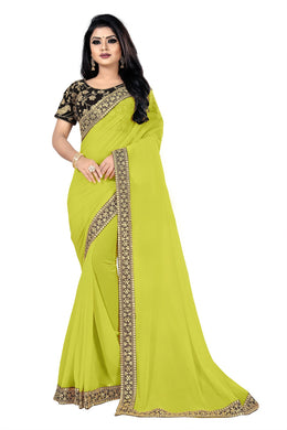 Mackover Highest Parrot Georgette + Sequance And Thread Work With Partywear Saree