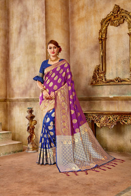 Groovy Purple & Sea Green Blue Banarasi Silk Kanjivaram Work With Lovely Saree