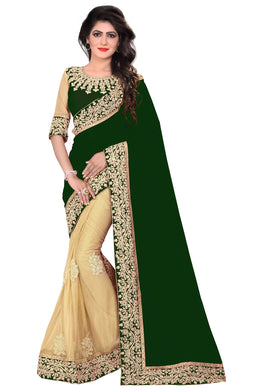 So Corny Green & Cream Lycra + Georgette Embroidered Delectable Saree