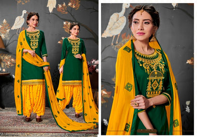 Finished Yellow & Green Satin Cotton Embroidered Work With Long Straight Salwar Suit