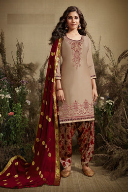 Fancy Look Cream & Maroon Satin Cotton Embroidered Work With Long Straight Salwar Suit