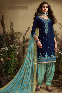 Indian Style Navy Blue & Sky Blue Satin Cotton Embroidered Work With Long Straight Salwar Suit