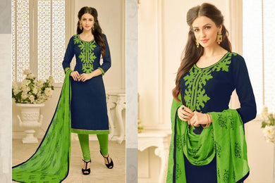 Supeb Navy Blue Chanderi Cotton Embroidered Straight Salwar Suit