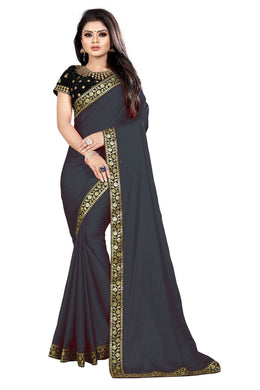 Cocktail Party Wear Black Georgette Embroidered & Sequance Work With Party Wear Saree
