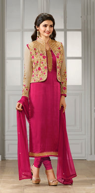 Fabulous Dove Designer Pink & Cream Georgette Embroidered Straight Salwar Suit With Duptta .