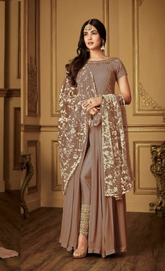 Advanced Coffee Heavy Faux Georgette Embroidery Work With Straight Cut Suit