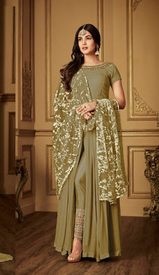 Boutique Style Mahendi Heavy Faux Georgette Embroidery Work With Straight Cut Suit