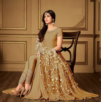 Artful Stylist Golden Heavy Faux Georgette Embroidery Work With Straight Cut Suit