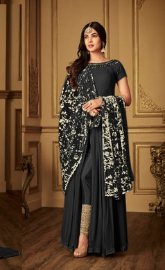 Cocktail Wear Black Heavy Faux Georgette Embroidery Work With Straight Cut Suit