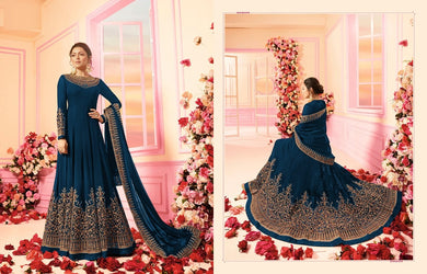 Trendsetting Blue Georgette Coding Embroidery Work With Long Anarakali Suit