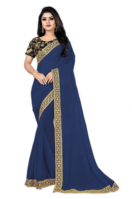 Appealing New Blue Georgette + Sequance And Thread Work With Partywear Saree