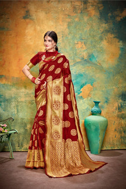 Appealing Maroon Jacquard Silk Traditional Print Work Smooth Saree