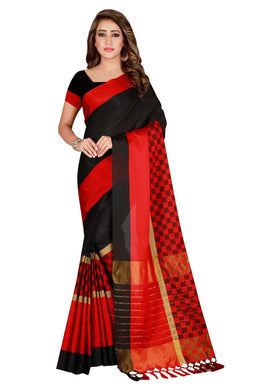 Congenial Red & Black Cotton Silk Hand Woven Work With Superb Saree