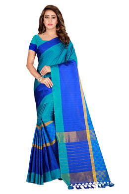 Comely Boutique Sky Blue Cotton Silk Hand Woven Work With Superb Saree