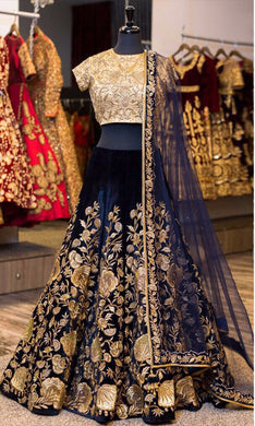 Wedding Special Golden & Navy Blue Velvet + Micro Heavy Design Lahengha Choli