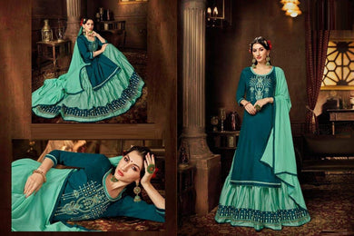 Beauteous Blue Jam Cotton Fancy Embroidery Work With Long Straight Suit + Sharara