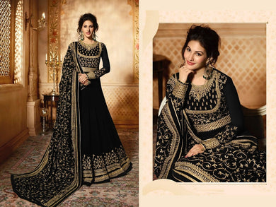 Bhai - Dooj Special Black Heavy Georgette Coding Work With Long Anarkali Suit