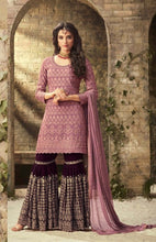 Bhai - Dooj Special Purple Heavy Faux Georgette Coding Work With Straight Suit + Sharara