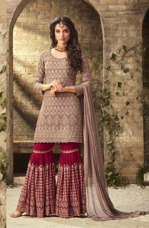 Distinct Pink Heavy Faux Georgette Coding Work With Straight Suit + Sharara