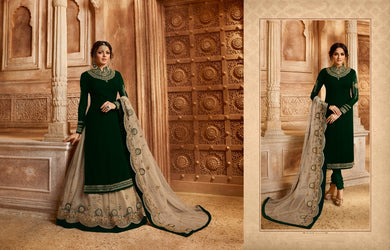Bizarre Green Georgette Embroidery Work With Long Anarkali & Straight Mixx Transparent Suit