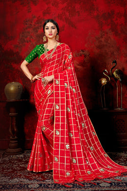 Beauteous Red & Green Sana Silk Chex Box Patti Work With Lovely Saree
